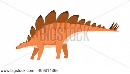 Profile Of Stegosaurus Dino With Spikes And Plates On Back And Tail. Extinct Dinosaur Of Ancient Jur