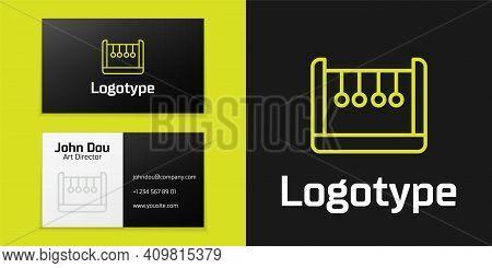 Logotype Line Pendulum Icon Isolated On Black Background. Newtons Cradle. Logo Design Template Eleme