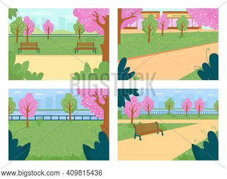 Spring Park Flat Color Vector Illustration Set. Street With Blooming Trees. Pink Flowers. Town Lawn,