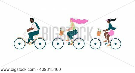Happy Bicyclist Flat Color Vector Detailed Character Set. African American Man, Woman. White Girl Cy