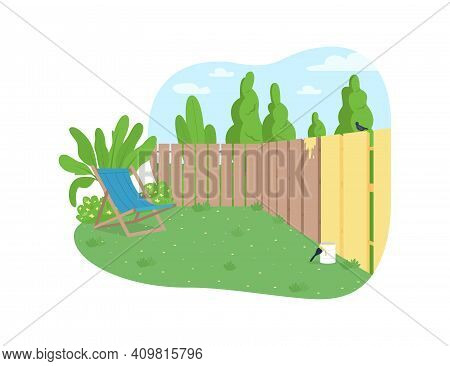 Garden Fence Painting 2d Vector Web Banner, Poster. House Maintenance. Outdoor Renovation In Spring.