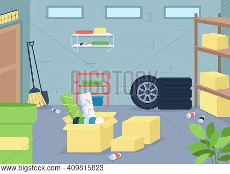 Garage Junk Flat Color Vector Illustration. Spring Cleaning And Decluttering. Organize Mess In Home.