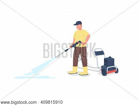 Professional Cleaner With Equipment Flat Color Vector Faceless Character. Outside Cleanup. Outdoor C