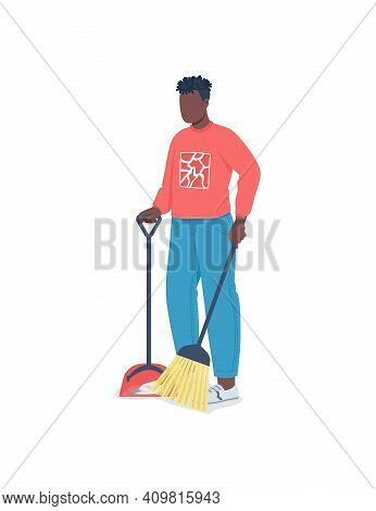 African American Man Cleaning Floor Flat Color Vector Faceless Character. Guy Doing Chores. Seasonal