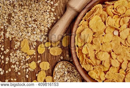 Whole Grains Cereals Cereals Wooden Board Table Food Preparation