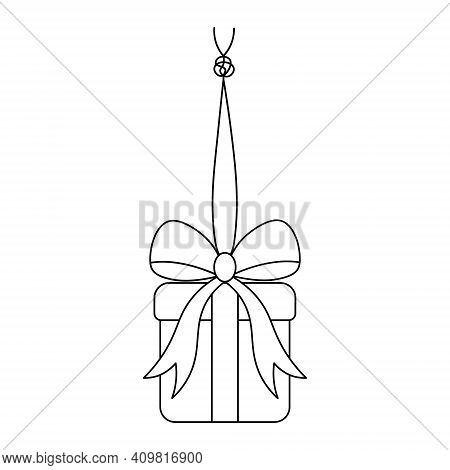 The Surprise Box Hangs On A String With A Knot. Sketch. The Gift In The Box Is Tied With A Bow. Vect