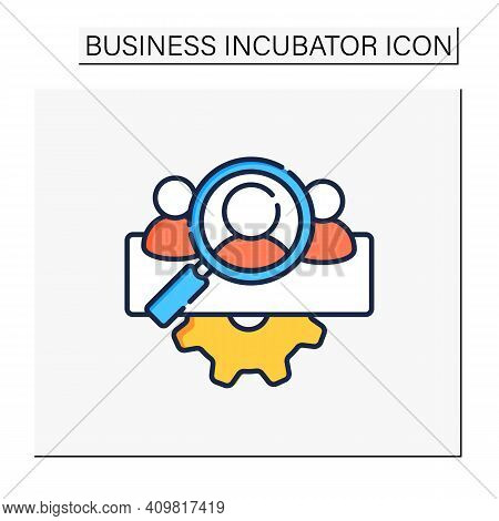 Management Team Identification Color Icon. Searching For New Employees Or Partners. Enrollment Emplo