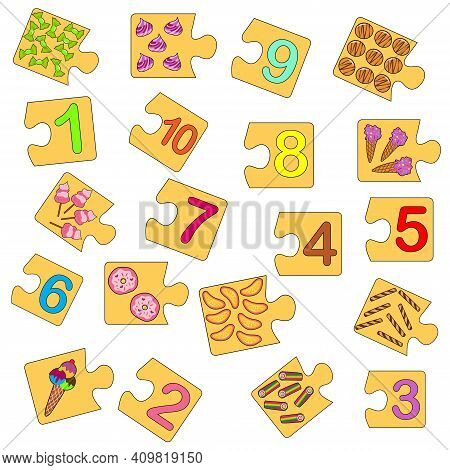 Educational Game For Kids. Find The Right Picture For The Number. Collection Puzzle With Numbers And