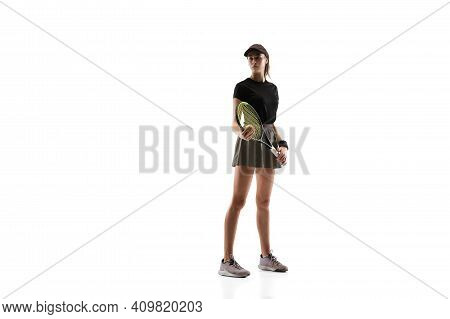 Competitive. Young Caucasian Professional Sportswoman Playing Tennis On White Background. Training,