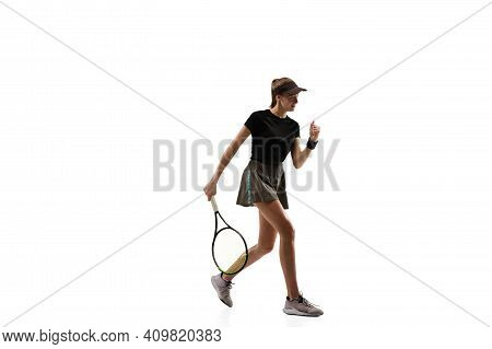 Fit. Young Caucasian Professional Sportswoman Playing Tennis Isolated On White Background. Training,