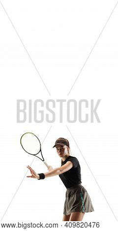 Flyer. Young Caucasian Professional Sportswoman Playing Tennis Isolated On White Background. Trainin