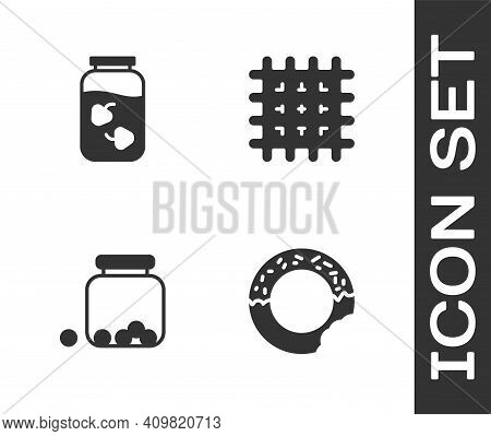 Set Donut, Strawberry Jam Jar, Glass With Candies Inside And Cracker Biscuit Icon. Vector