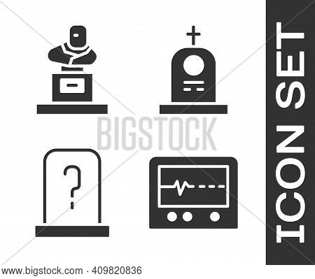 Set Beat Dead In Monitor, Grave With Tombstone, Grave With Tombstone And Grave With Tombstone Icon.