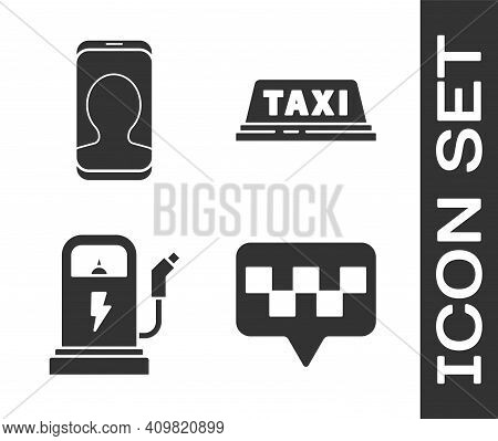 Set Map Pointer With Taxi, Taxi Call Telephone Service, Electric Car Charging Station And Taxi Car R
