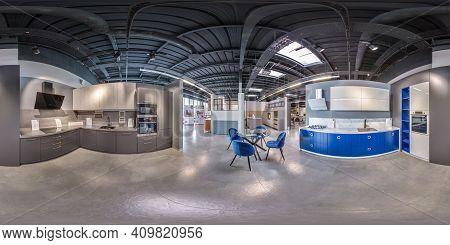 Moscow, Russia - May, 2017: Full Seamless Spherical Hdri Panorama Inside Interior Of Luxury Stylish