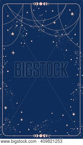 Blue Magic Background Card With Stars And Space Decor With Copy Space. Natal Chart For Astrology, Ta