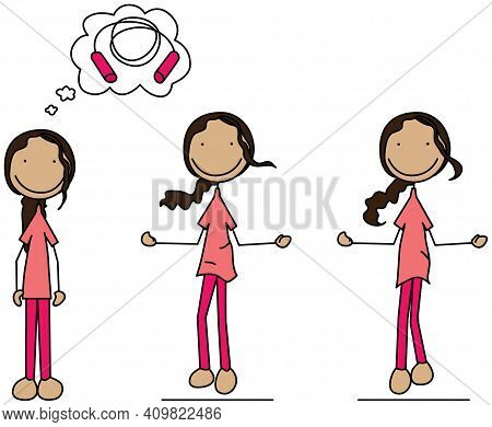Cartoon Vector Illustration Of A Girl Exercising - Pretend Jump Rope