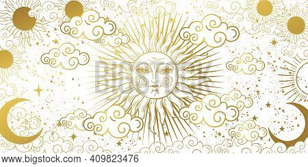 Aesthetic White Background With Golden Sun With Face, Clouds And Stars. Magic Tarot Card, Celestial