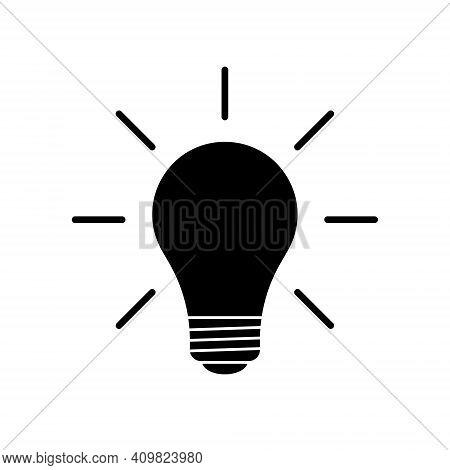 Lightbulb Icon. Incandescent Lamp Symbol. Idea And Innovation Sign. Creative Energy Or Inspiration L