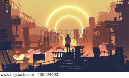 Man Riding A Bicycle In The Autumn Forest Park In The Sunny Morning, Vector Illustration