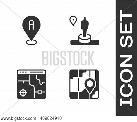 Set City Map Navigation, Location, Infographic Of City And And Monument Icon. Vector