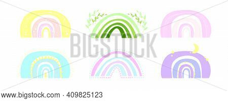 Spring Boho Rainbow For Children's Cards, Posters For Nursery, Baby Fabric. Vector Set Bohemian Baby