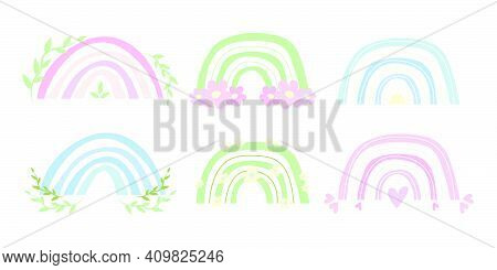 Set Of Baby Neutral Colored Boho Rainbows. Spring Cute Rainbows For Baby Cards, Nursery Posters. Vec