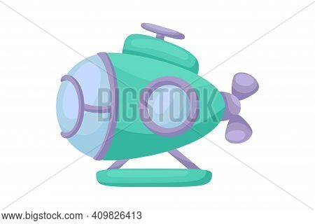 Cute Green Submarine With Periscope On White Background. Cartoon Transport For Kids Cards, Baby Show