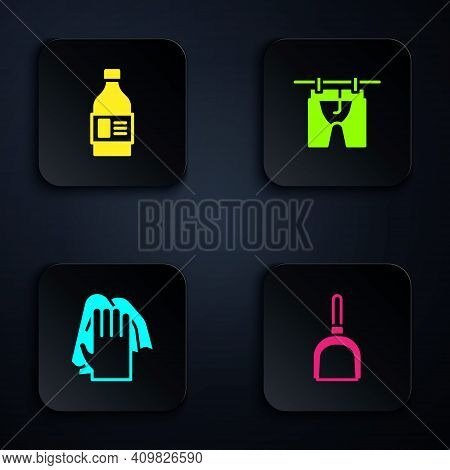 Set Dustpan, Bottle For Cleaning Agent, Cleaning Service And Drying Clothes. Black Square Button. Ve