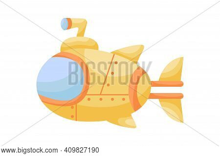 Cute Yellow Submarine With Periscope On White Background. Cartoon Transport For Kids Cards, Baby Sho