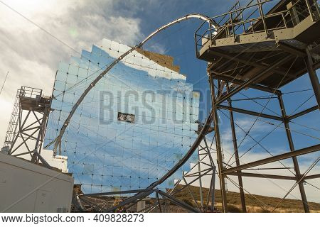 La Palma, Spain - November 1, 2016: Cta Lst1 Telescope, One Of The Magic Telescopes Group, At The Ro