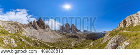 Hyper Panorama Of Tre Cime Natural Park With Famous Three Peak Of Tre Cime Di Lavaredo. South Tyrol,