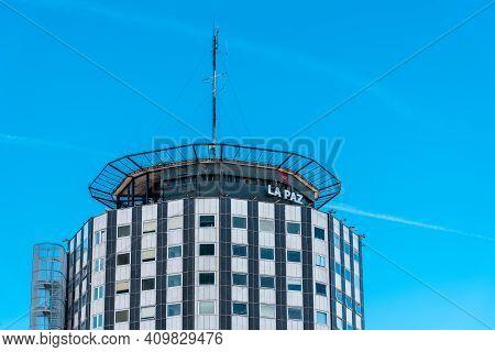Madrid, Spain - February 7, 2021: La Paz Hospital Main Building Against Blue Sky