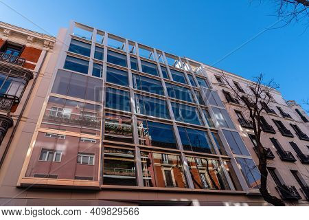 Madrid, Spain - February 14, 2021: Modern Office Building Development In Historic Centre Of Madrid.