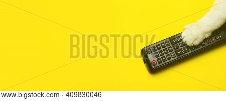 Tv Remote Control With A Cat's Paw On A Yellow Background. Cinema, Entertainment, Tv Concept.