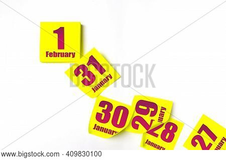 February 1st . Day 1 Of Month, Calendar Date. Many Yellow Sheet Of The Calendar. Winter Month, Day O