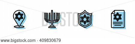 Set Line Shield With Star Of David, , Hanukkah Menorah And Torah Scroll Icon. Vector