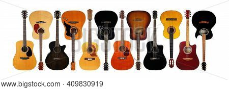 Musical Instrument - Very Big Banner, Collage Front View Classic Vintage Acoustic Guitars Isolated O