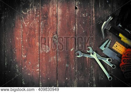 Top View Tools Building And Repair Set On A Vintage Wooden Background