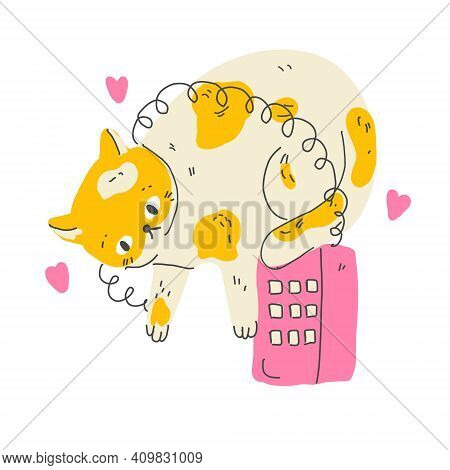 Funny Cartoon Cat With Vintage Phone Wiating For A Call. Modern Flat Style Pet Vector Illustration