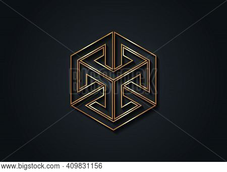 Optical Illusion Gold Impossible Cube, Isometric Drawing. Logo Abstract Infinite Impossible Loop Vec