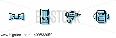 Set Line Ray Gun, Bow Tie, Tetris And School Backpack Icon. Vector