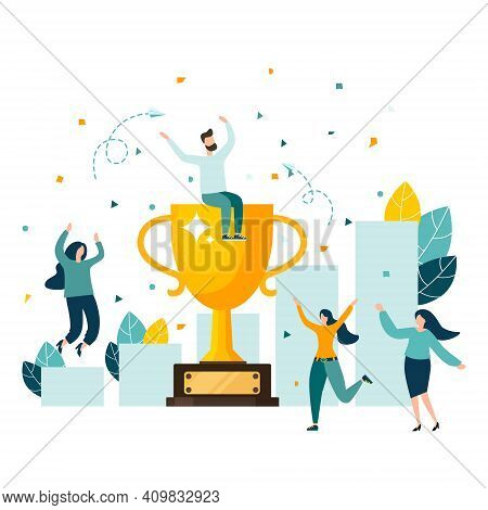 Golden Trophy Cup, Symbol Of Victory, Team Celebrating Victory. Modern Flat Style Vector Illustratio