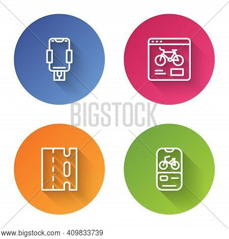 Set Line Mobile Holder, Bicycle Rental Mobile App, Lane And . Color Circle Button. Vector