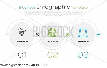 Set Line Bicycle Seat, Gloves And Lane. Business Infographic Template. Vector