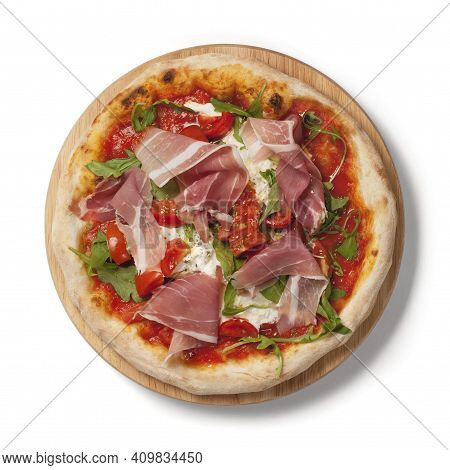 Tasty Pizza On Wooden Background. Lots Of Cheese Pizza. Mushroom Pizza. Pepperoni Pizza. Mozzarella