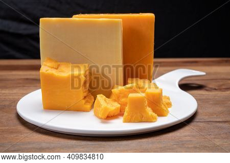 Cheese Collection, Orange And Yellow Smoked British Cheese From England