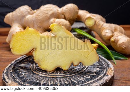 Fresh Ginger Rhizome Root Used In Traditional Medicines And For Flavoring Meals Worldwide.