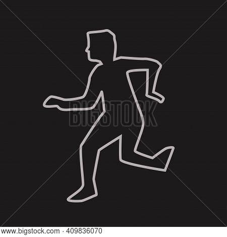 Human Silhouette Chalk Outline On Dark Back
