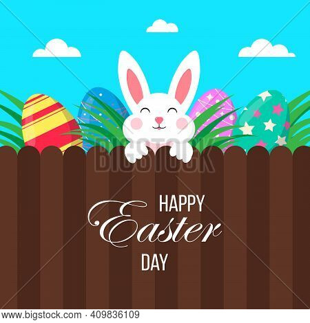 Easter Poster With Eggs And Bunny.happy Easter Day. Greetings And Gifts For Easter In A Flat Style.p